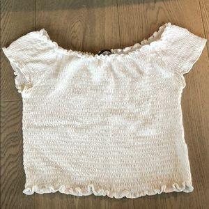 Brandy Melville white ruffle top